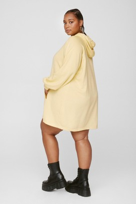 Nasty Gal Womens All Night Longline Plus Sweatshirt Dress - Lemon