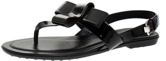 Tod's Black Patent Leather Bow Detail Flat Thong Slingback Sandals Size 37.5