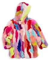 Adrienne Landau Toddler, Little Girl's & Girl's Rex Multi-Color Rabbit Fur Jacket