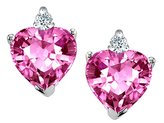 Tommaso design Studio Tommaso Design Heart-Shape 6 mm Simulated Topaz and Diamonds Earrings Studs 14k