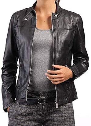 Ladies Biker Jacket Side Laced Stylish Real Leather Gothic Slim Fit Jacket 9755