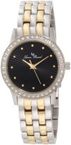 Lucien Piccard Women's 11696-SG-11 Monte Velan Black Textured Dial Two Tone Stainless Steel Watch