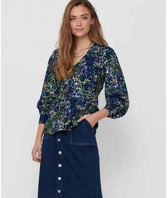 Jacqueline De Yong Floral V-Neck Blouse with Long Sleeves