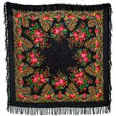 "Pavlovoposadskiy Platok Women's Russian Wool Shawl With Wool Fringes 50x50"""