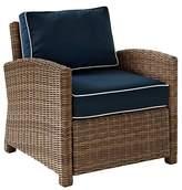 Crosley Bradenton Outdoor Wicker Arm Chair with Navy Cushions