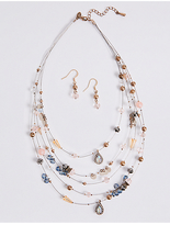 M&S Collection Sequin Wire Necklace & Earrings Set
