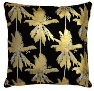 Juicy Couture Luxe Palm Indoor/Outdoor Throw Pillow Color: Black/Golden