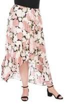 Bobeau Plus Larz Asymmetric Floral Skirt
