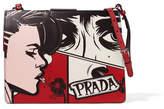 Prada Frame Printed Textured-leather Shoulder Bag - Claret
