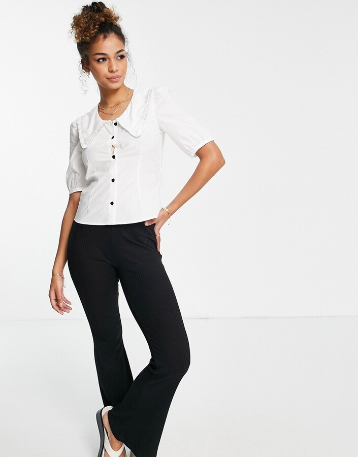Thumbnail for your product : Monki Sandra organic cotton blouse with ruffled collar detail
