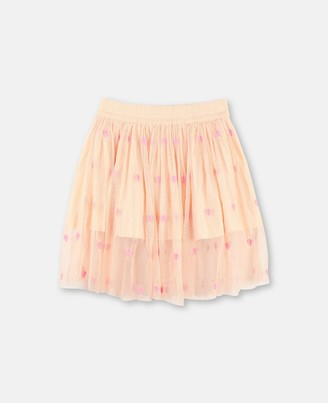Stella McCartney hearts embroidery tulle skirt