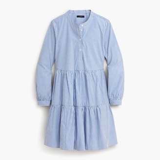 J.Crew Petite stretch cotton poplin tiered dress