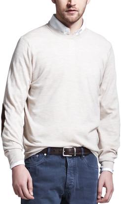 Brunello Cucinelli Fine-Gauge Knit Elbow-Patch Sweater, Oatmeal
