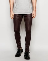 Asos Extreme Super Skinny Jeans In Heavy Coated Burgundy