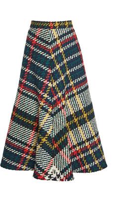 Rosie Assoulin Plaid Wool-Cotton A-Line Midi Skirt