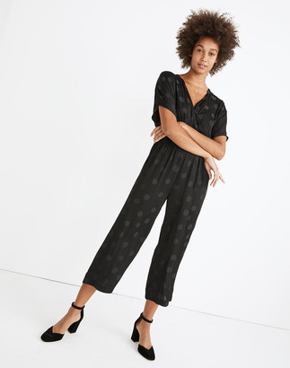 Madewell Petite Wrap-Front Smock-Waist Jumpsuit in Dot Jacquard