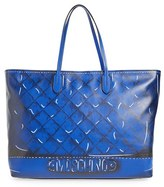 Moschino Shadow Print Leather Tote - Blue