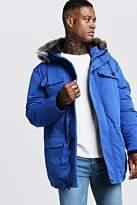 boohoo Mens Blue Faux Fur Hooded Arctic Parka, Blue