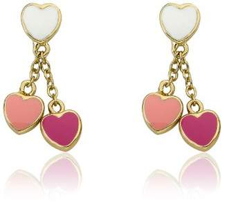 """Little Miss Twin Stars """"I LOVE My Jewels"""" 14k Gold-Plated White Enamel Heart with Pink and Hot Pink Heart Dangle Earring"""