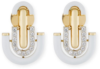 David Webb White Enamel & Diamond Unity Earrings
