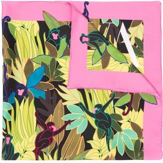 Valentino Monkey Forest print scarf