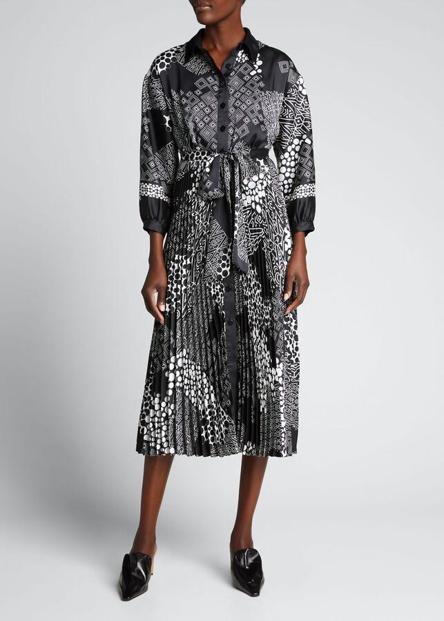 Rickie Freeman For Teri Jon Patch-Print Pleated-Skirt Shirtdress