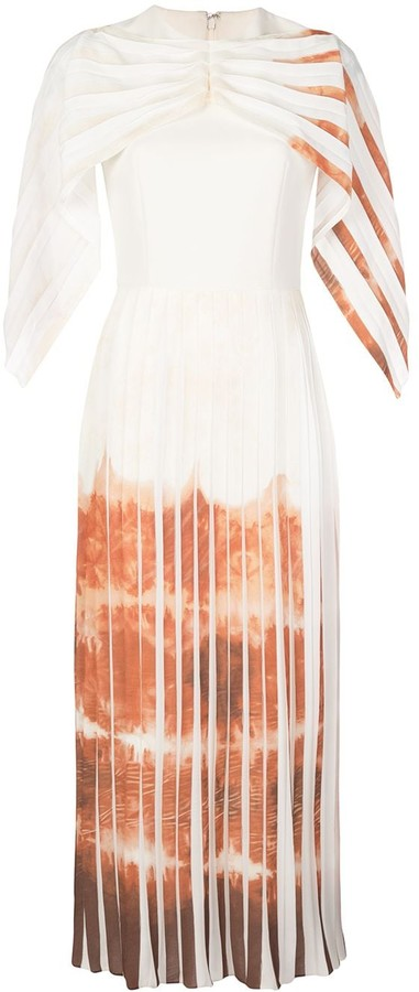 Christian Siriano Draped Sleeve Pleated Dress