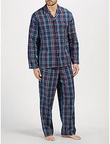 John Lewis Herringbone Check Brushed Cotton Pyjamas, Navy