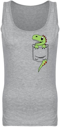 Flip Womens Pocket Dinosaur Dino Cute Character Print Vest Tank Top Heather Grey UK 8 (S)