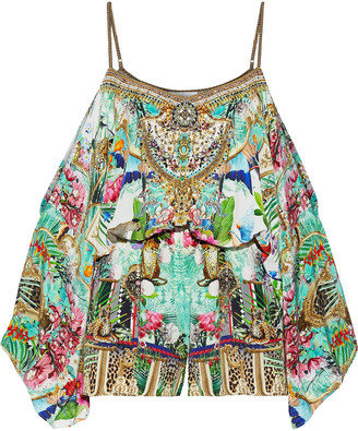 Camilla Champagne Coast Cold-shoulder Embellished Printed Washed-silk Playsuit
