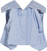 Y/Project Off-the-shoulder Striped Cotton-poplin Bustier Top - Light blue