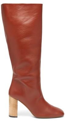 Ssōne Ssone - Rita Knee High Leather Boots - Womens - Dark Red