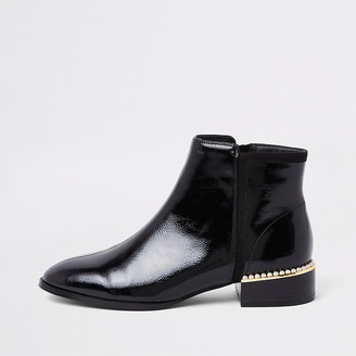 River Island Black pearl embellished ankle boot