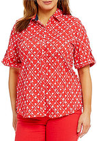 Allison Daley Plus Roll-Tab Sleeve Crinkle Burnout Dot Print Button Front Shirt