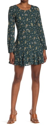 Rowa Floral Long Sleeve Ruffled Mini Dress
