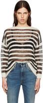 Saint Laurent Black & Ivory Mohair Sweater