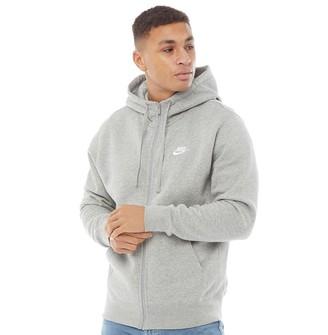 Nike Mens Sportswear Club Fleece Full Zip Hoodie Dark Grey Heather