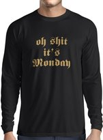 lepni.me Long sleeve t shirt men Oh Shit it's Monday I hate mondays ( Black Gold)