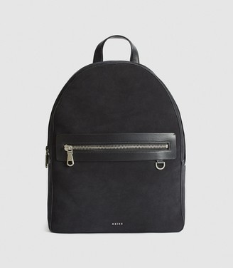Reiss Ethan - Suede Backpack in Navy