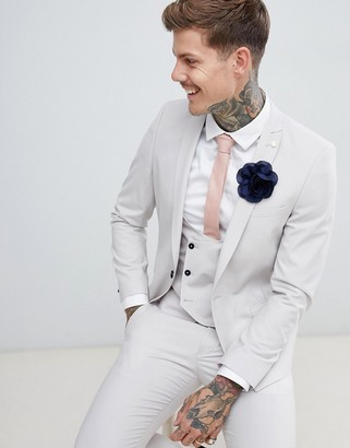 Twisted Tailor wedding super skinny suit jacket in gray