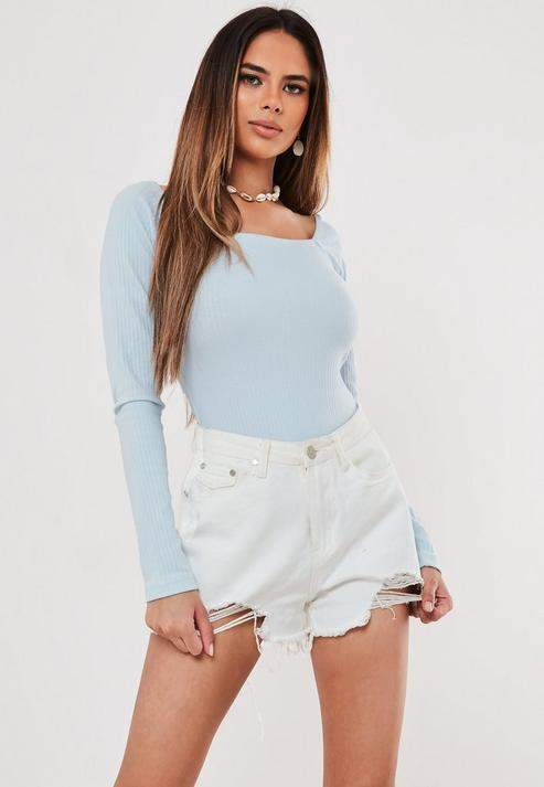 Missguided Blue Rib Long Sleeve Square Neck Bodysuit