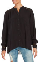 Free People The Best Top Crochet-Accented Button-Front Shirt
