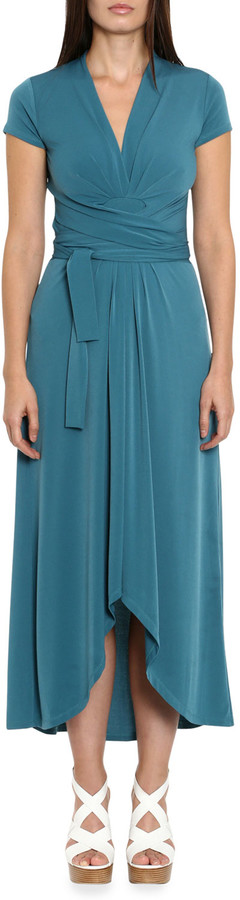 MICHAEL Michael Kors Cap-Sleeve High-Low Maxi Wrap Dress