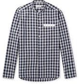Oliver Spencer Hatch Grandad-Collar Checked Cotton And Linen-Blend Shirt