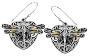 On Sweet Dragonfly Love Potion Sterling Silver Earrings Embellished by 18K Gold Accents 4 Strips of Dragonfly's Wings