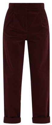 A.P.C. Louise High-rise Corduroy Wide-leg Trousers - Burgundy