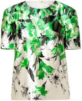 Prabal Gurung Silk-Cotton Sculpted Shoulder Top in Green/White