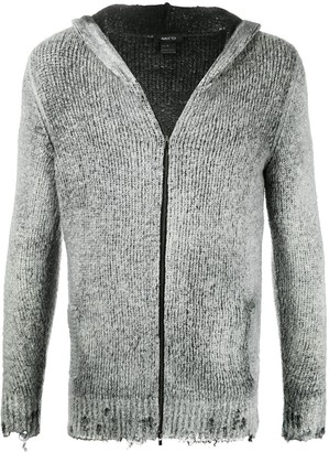 Avant Toi Zip-Through Distressed Hooded Sweater