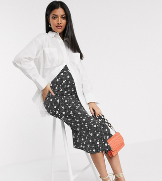 ASOS DESIGN Maternity satin bias midi skirt in spot floral print