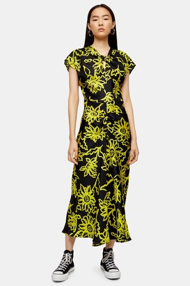 Topshop Womens **Silk Floral Printed Knot Dress By Yellow
